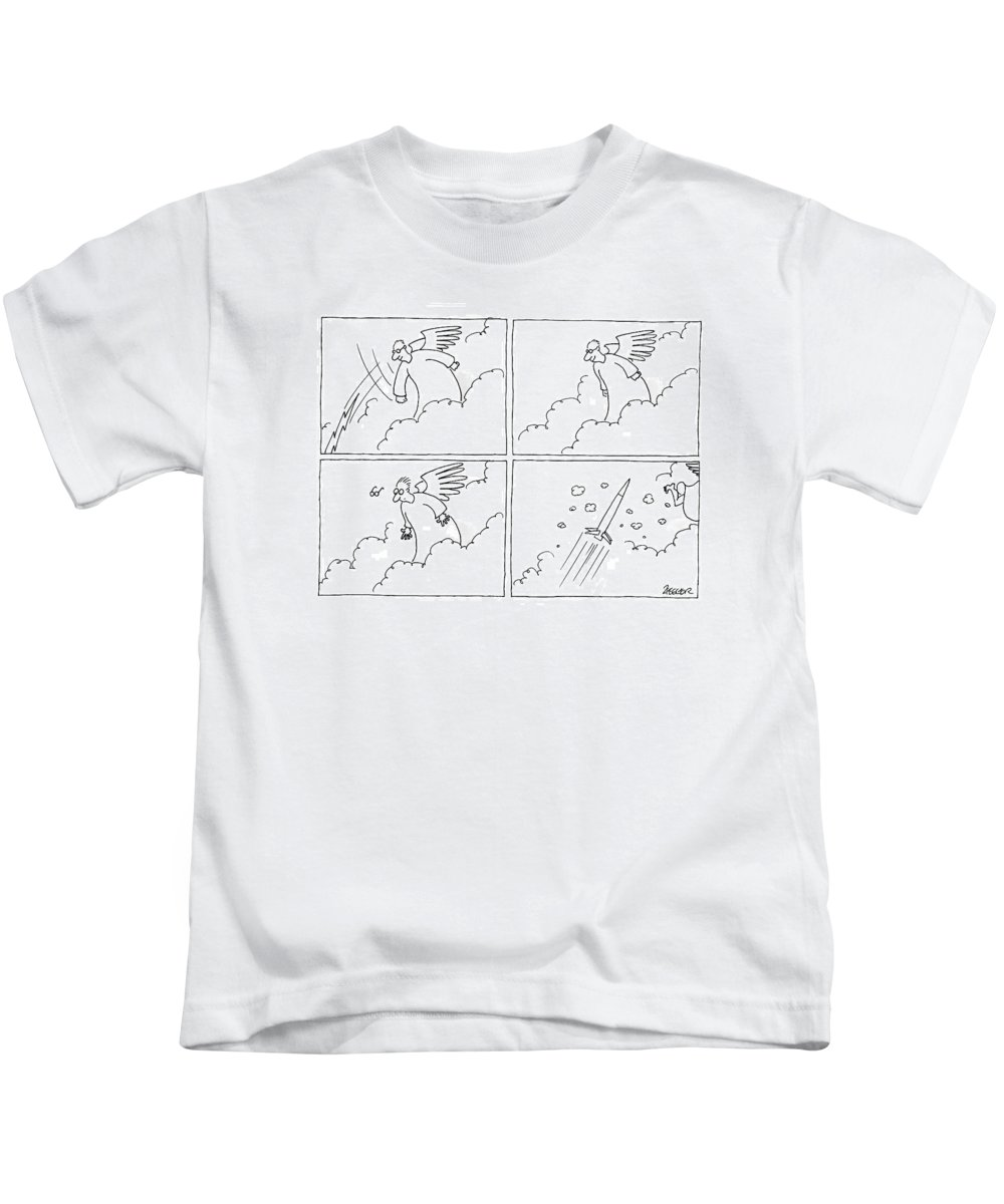 Heaven Kids T-Shirt featuring the drawing New Yorker August 27th, 2007 by Jack Ziegler