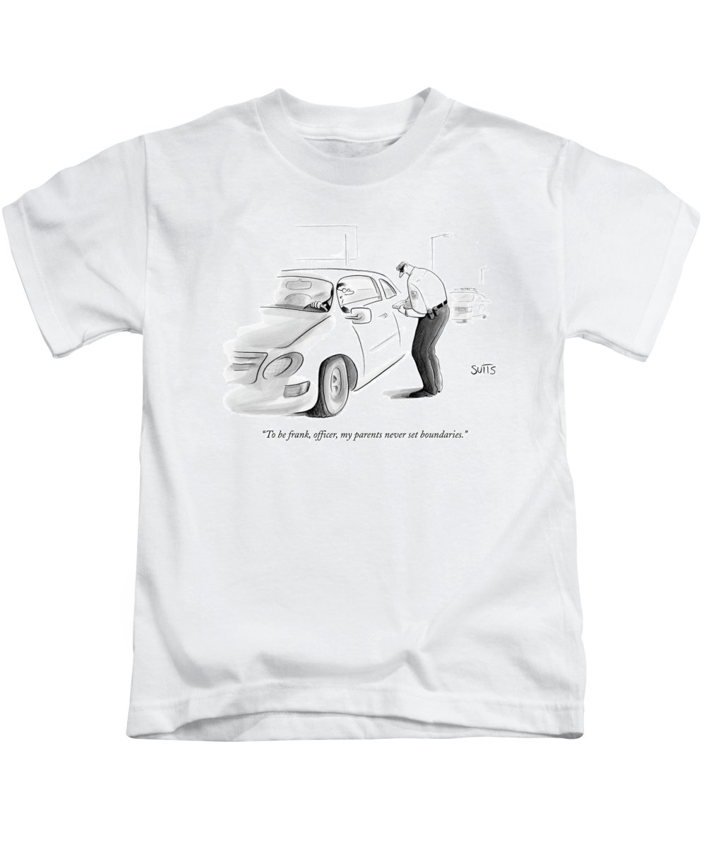 Parenting Kids T-Shirt featuring the drawing To Be Frank by Julia Suits