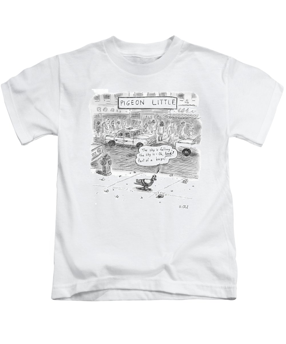 Pigeons Kids T-Shirt featuring the drawing Captionless by Roz Chast