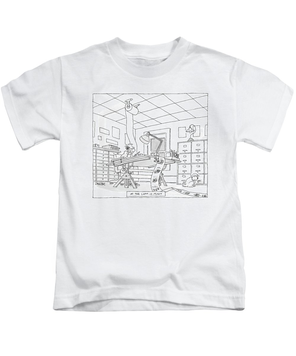 Art Inventions Interiors Word Play  (cartoonist Drawing Cartoons On One Continuous Roll Of Paper.) 122478 Jzi Jack Ziegler Kids T-Shirt featuring the drawing At The Laff-a-minit by Jack Ziegler