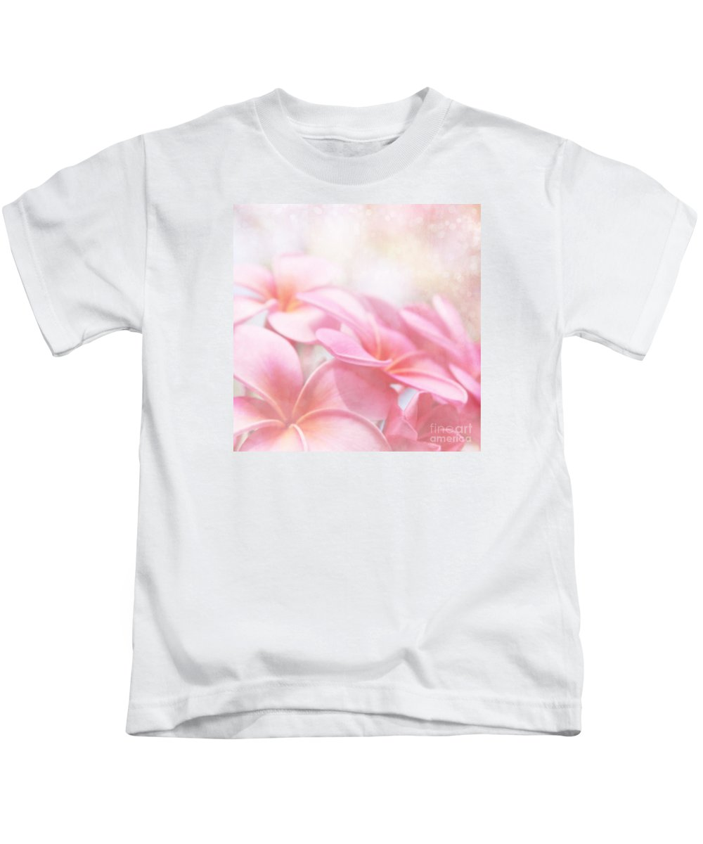 Pink Plumeria Blossoms Kids T-Shirt featuring the photograph Aloha by Sharon Mau