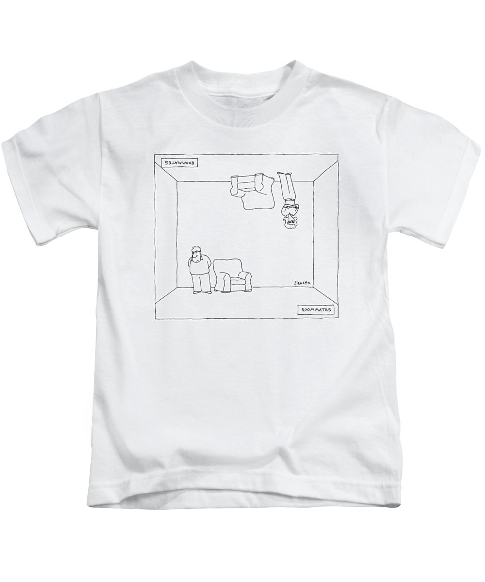 120896 Jzi Jack Ziegler  (couple In Same Room Kids T-Shirt featuring the drawing Roommates by Jack Ziegler