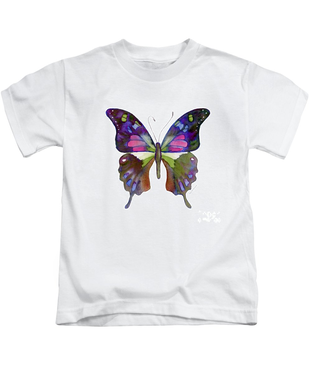 Colorful Butterfly Kids T-Shirt featuring the painting 98 Graphium Weiskei Butterfly by Amy Kirkpatrick
