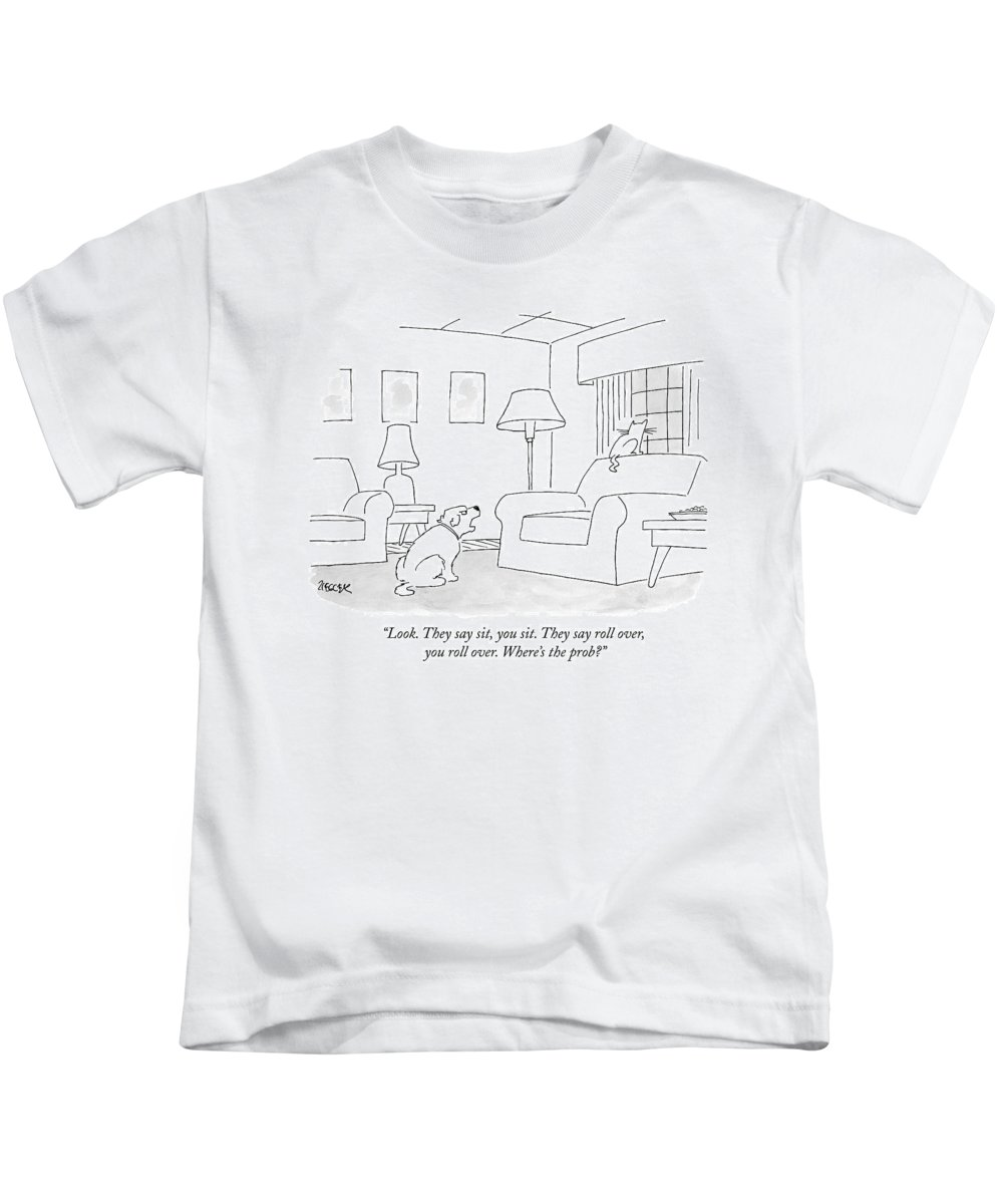 Dogs (interacting With Cats) Kids T-Shirt featuring the drawing Look. They Say Sit by Jack Ziegler