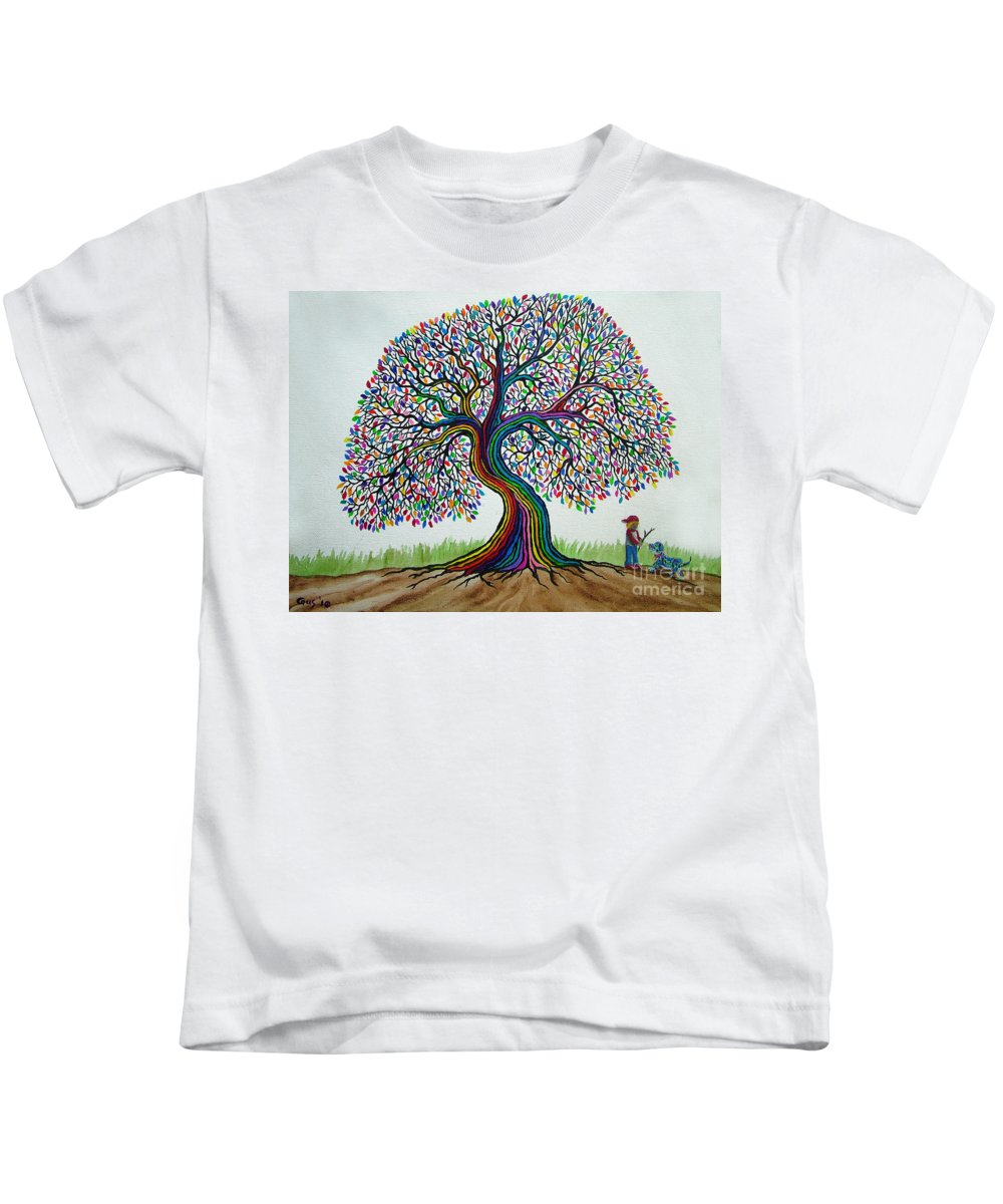 Rainbow Tree Kids T-Shirt featuring the painting A Boy His Dog And Rainbow Tree Dreams by Nick Gustafson