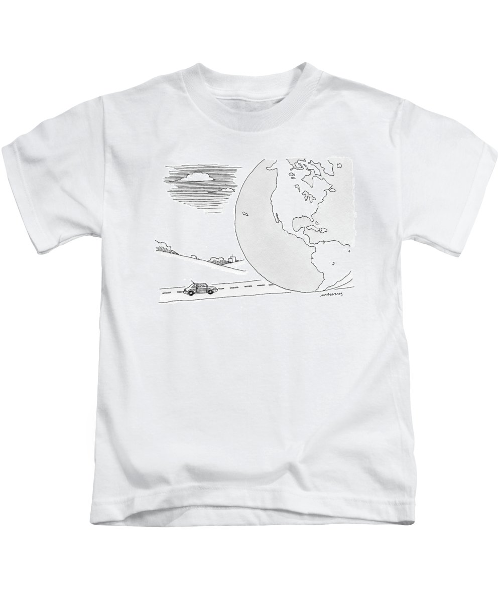 Caption Contest Tk. Earth Kids T-Shirt featuring the drawing A Couple Drives Towards A Giant Earth by Mick Stevens