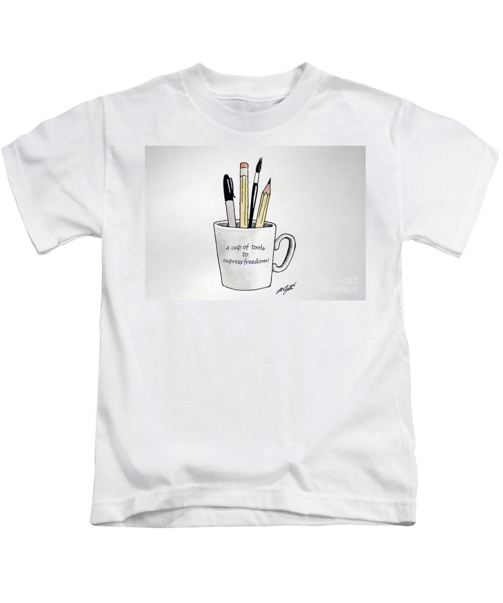 Christopher Shellhammer Kids T-Shirt featuring the drawing A Cup Of Tools To Express Freedom by Christopher Shellhammer