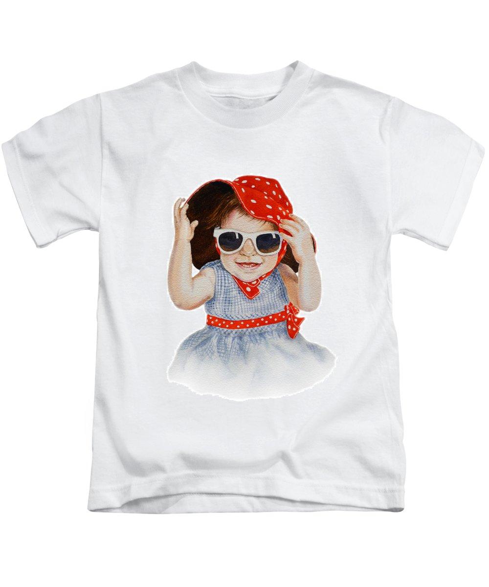 Red Hat Kids T-Shirt featuring the painting A Fashion Girl by Irina Sztukowski