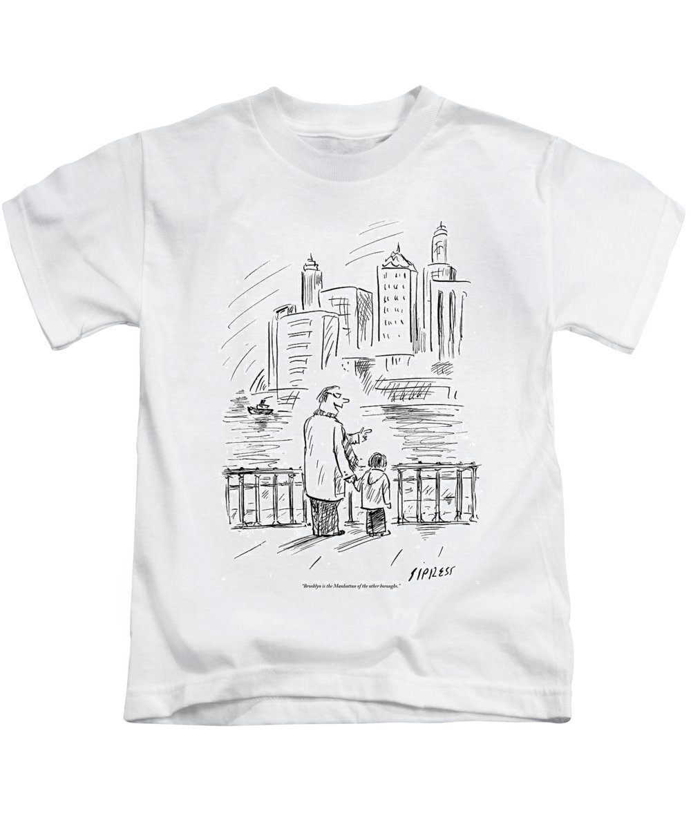 Brooklyn Kids T-Shirt featuring the drawing A Father And Son In Brooklyn Look by David Sipress