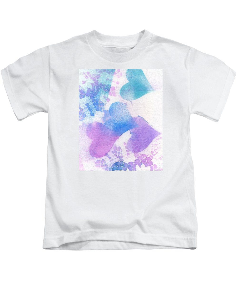 Hearts Kids T-Shirt featuring the mixed media A Lace Of Hearts. by Wendy Le Ber