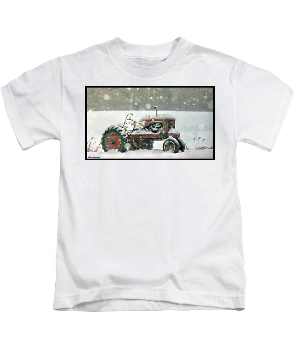 Iowa Kids T-Shirt featuring the photograph A Long Winter's Nap by Ellen Cannon
