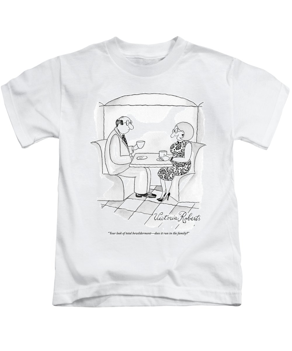 Date Kids T-Shirt featuring the drawing A Man And Woman Are Having Coffee Together by Victoria Roberts