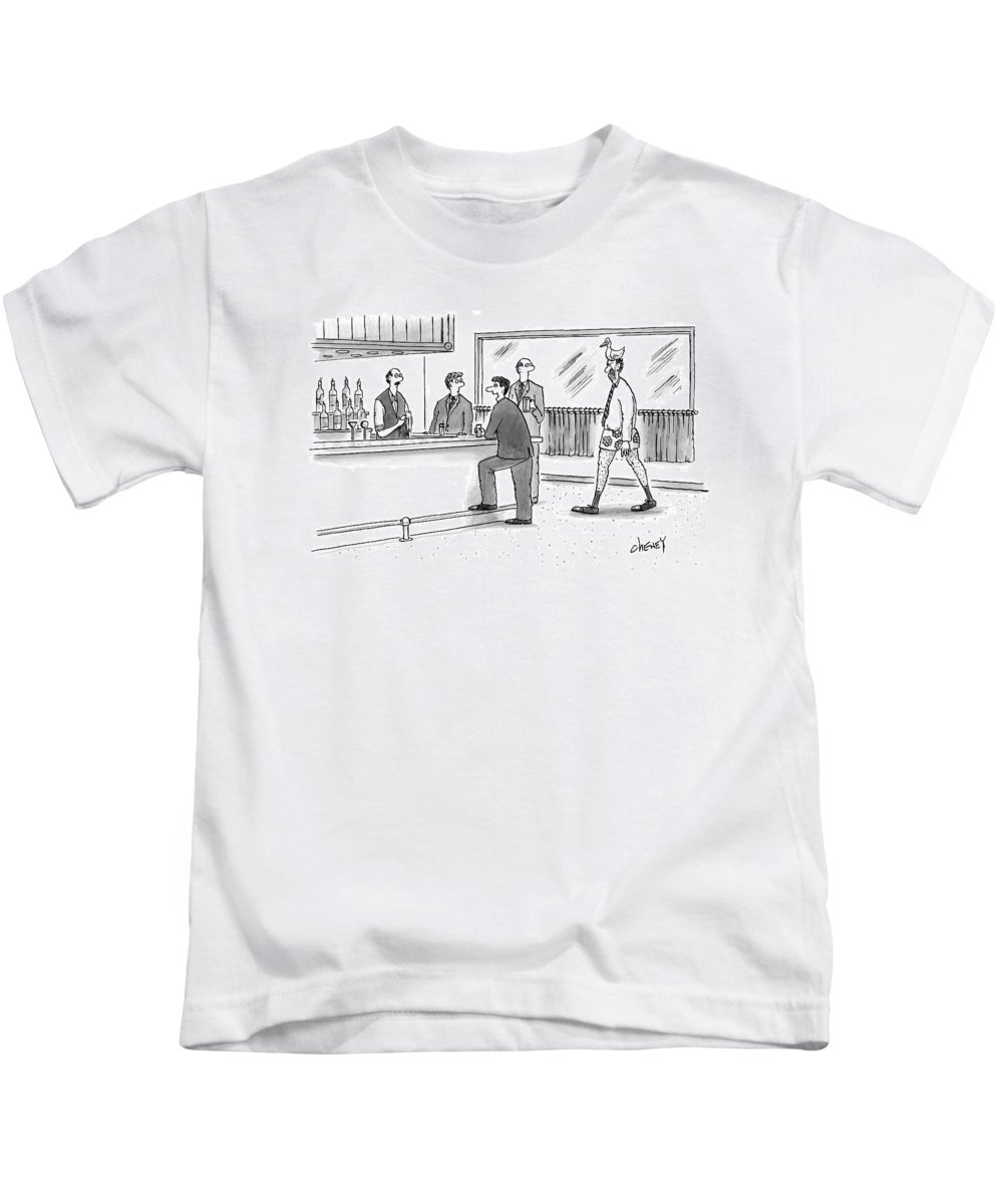 Duck Kids T-Shirt featuring the drawing A Man Walks Into A Bar Wearing Boxers With A Duck by Tom Cheney