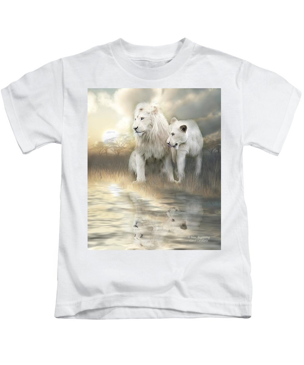 Lion Kids T-Shirt featuring the mixed media A New Beginning by Carol Cavalaris