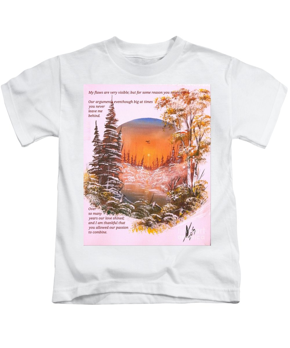 Poems Kids T-Shirt featuring the painting A Poem Of Love For My Wife by Collin A Clarke