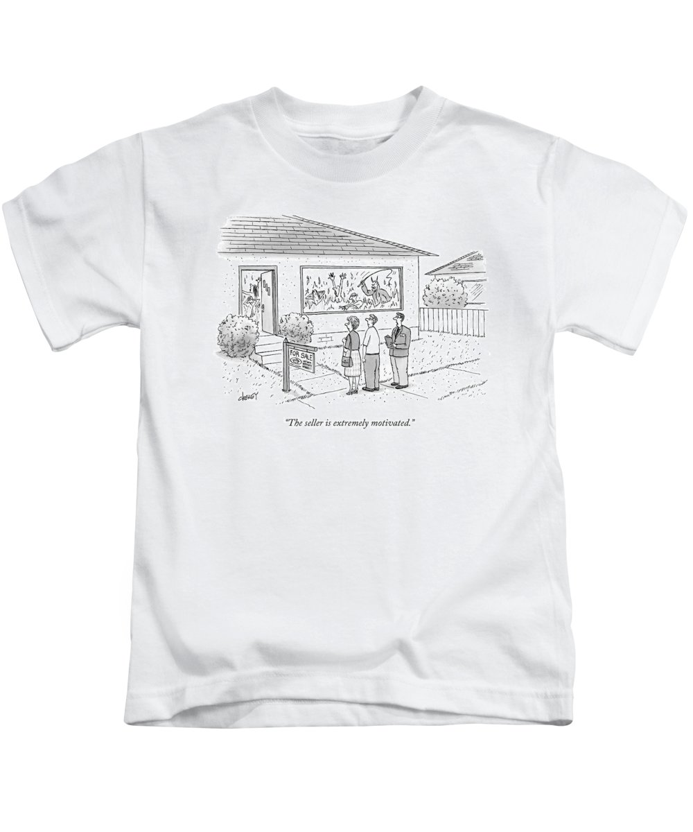 Captionless Kids T-Shirt featuring the drawing A Realtor Speaks To A Couple About A House by Tom Cheney