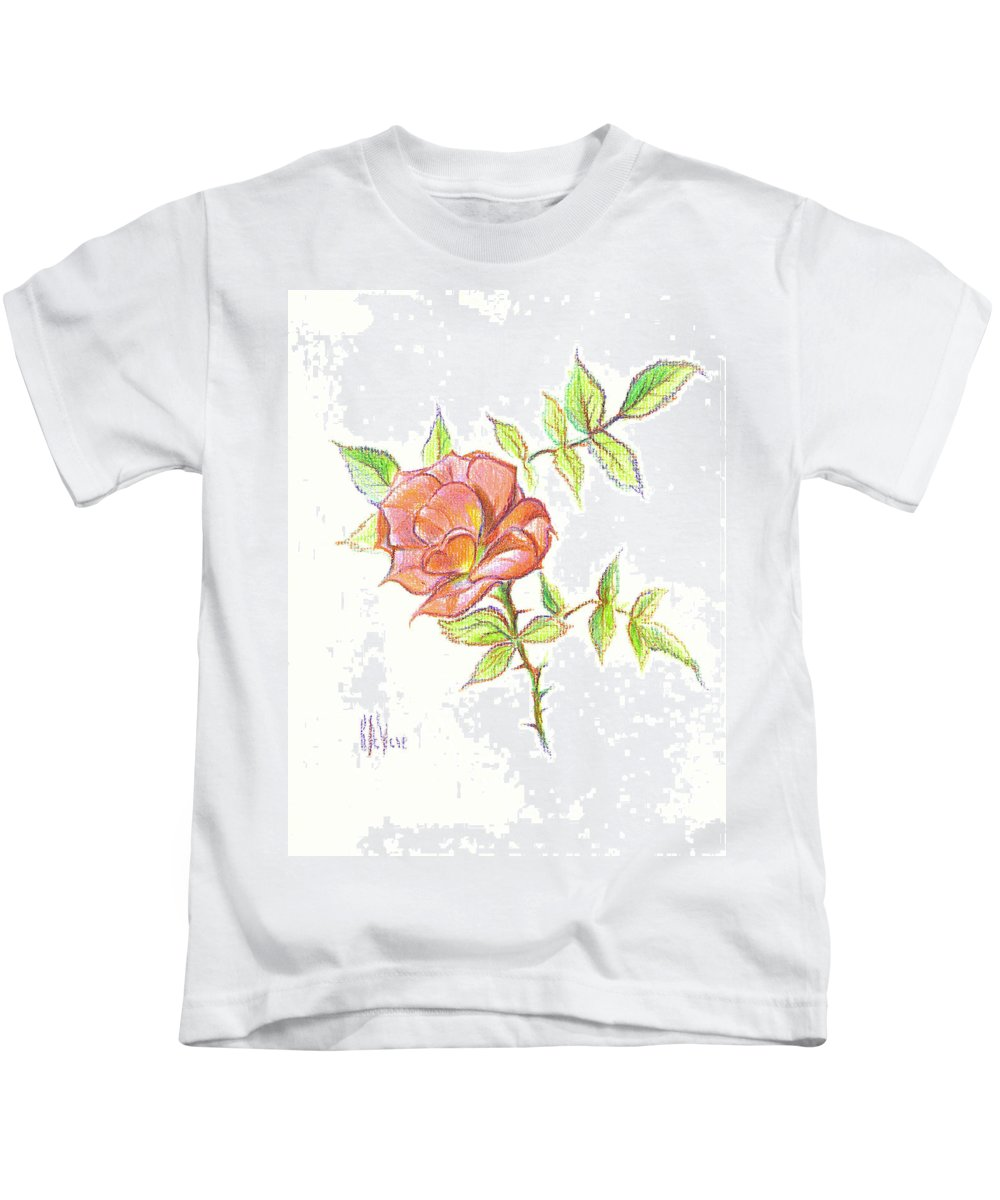 A Rose In Brigadoon Kids T-Shirt featuring the drawing A Rose In Brigadoon by Kip DeVore