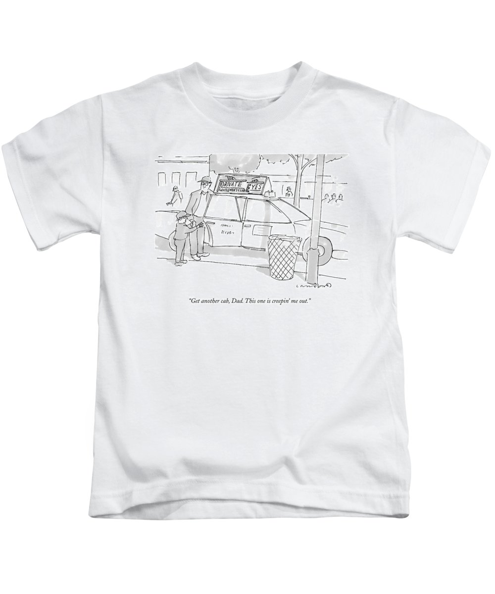 Taxis Kids T-Shirt featuring the drawing A Son Speaks To His Father by Michael Crawford