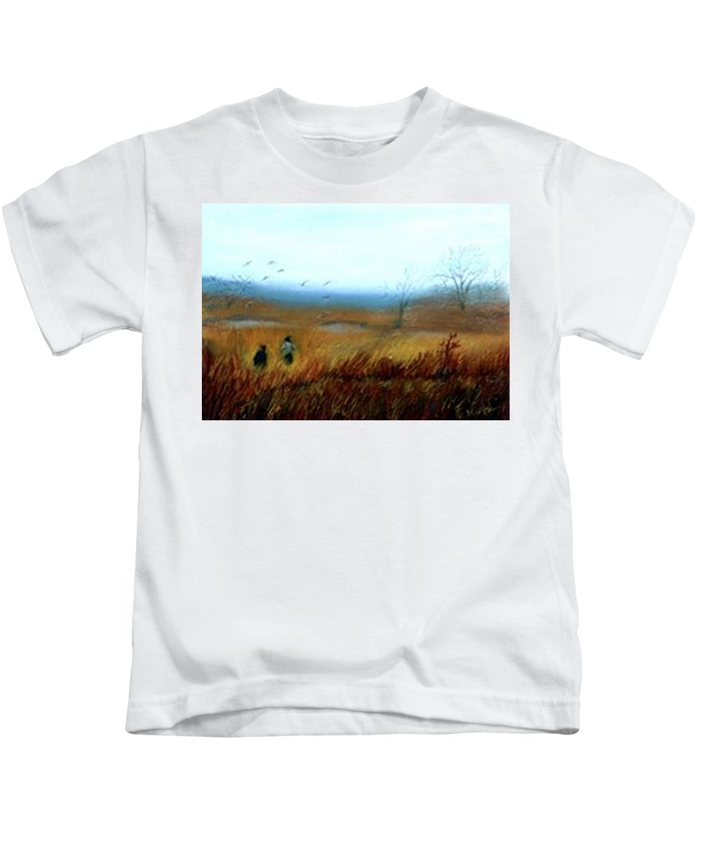 Figures Kids T-Shirt featuring the painting A Winter Walk by Gail Kirtz
