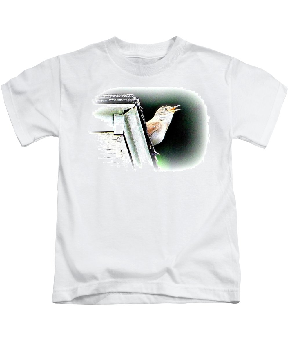 Bird Kids T-Shirt featuring the photograph Abstract Songbird by Barbara S Nickerson