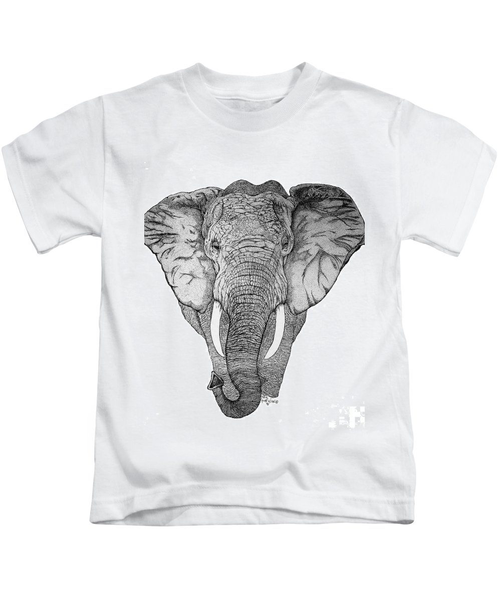 Elephant African Nature Wildlife Animal Elephants Animals Pen And Ink Elephant Kids T-Shirt featuring the drawing African Elephant by Nick Gustafson
