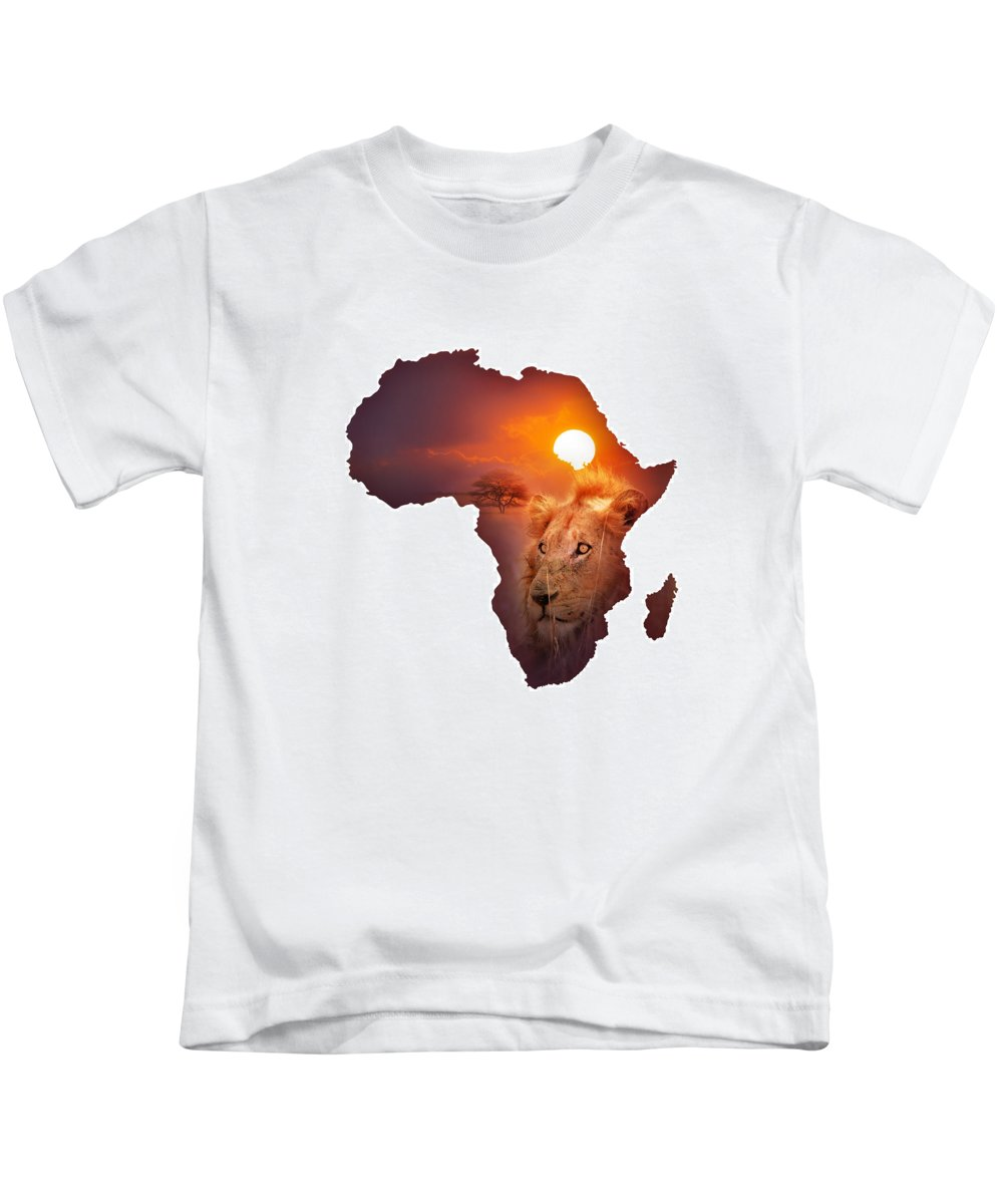 Africa Kids T-Shirt featuring the photograph African Wildlife Map by Johan Swanepoel