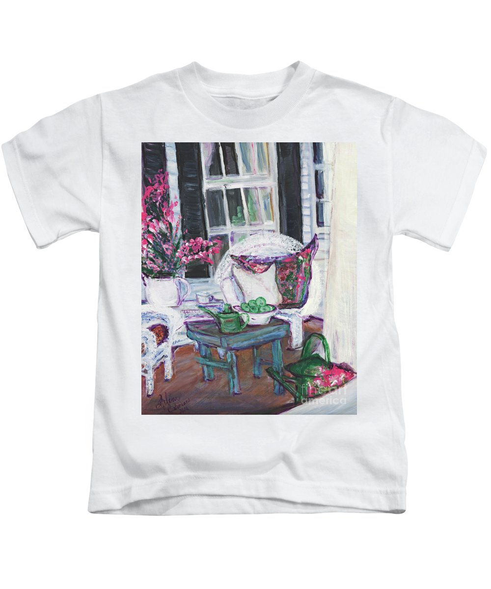 Porch Kids T-Shirt featuring the painting Afternoon At Emmaline's Front Porch by Helena Bebirian