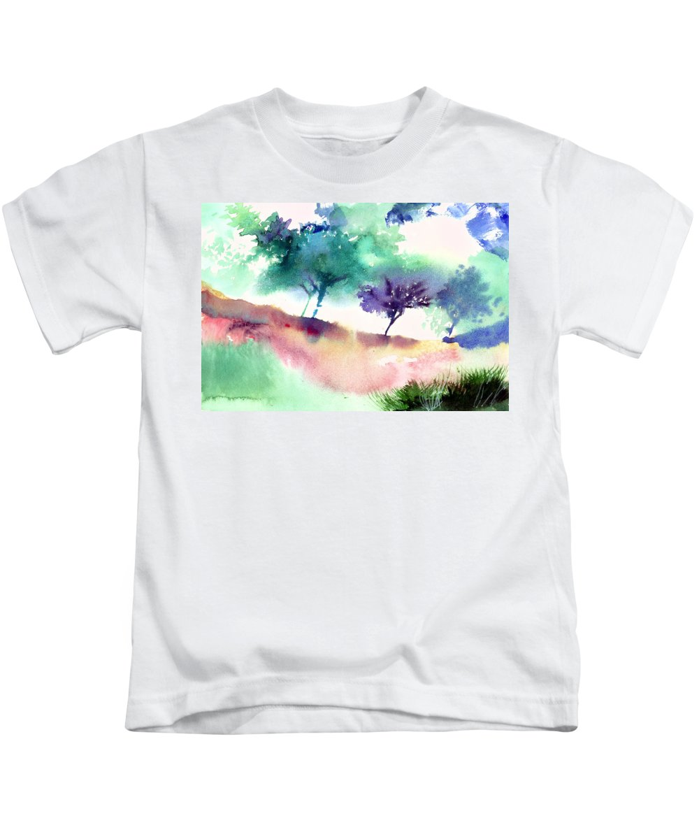 Black Kids T-Shirt featuring the painting Against Light 1 by Anil Nene