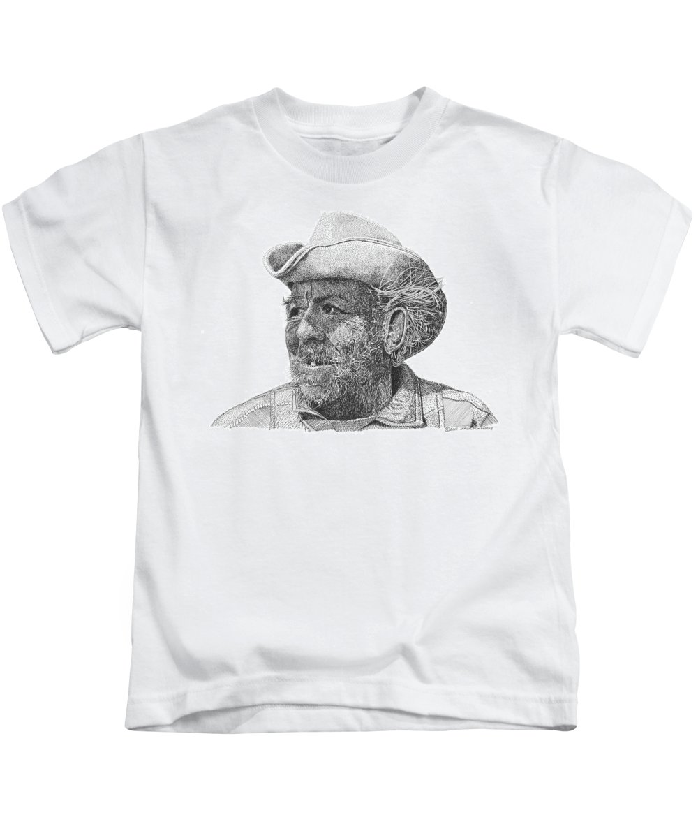 Give A Gift Of Art This Christmas Season Kids T-Shirt featuring the drawing Cowboy Al Holman by Jack Pumphrey
