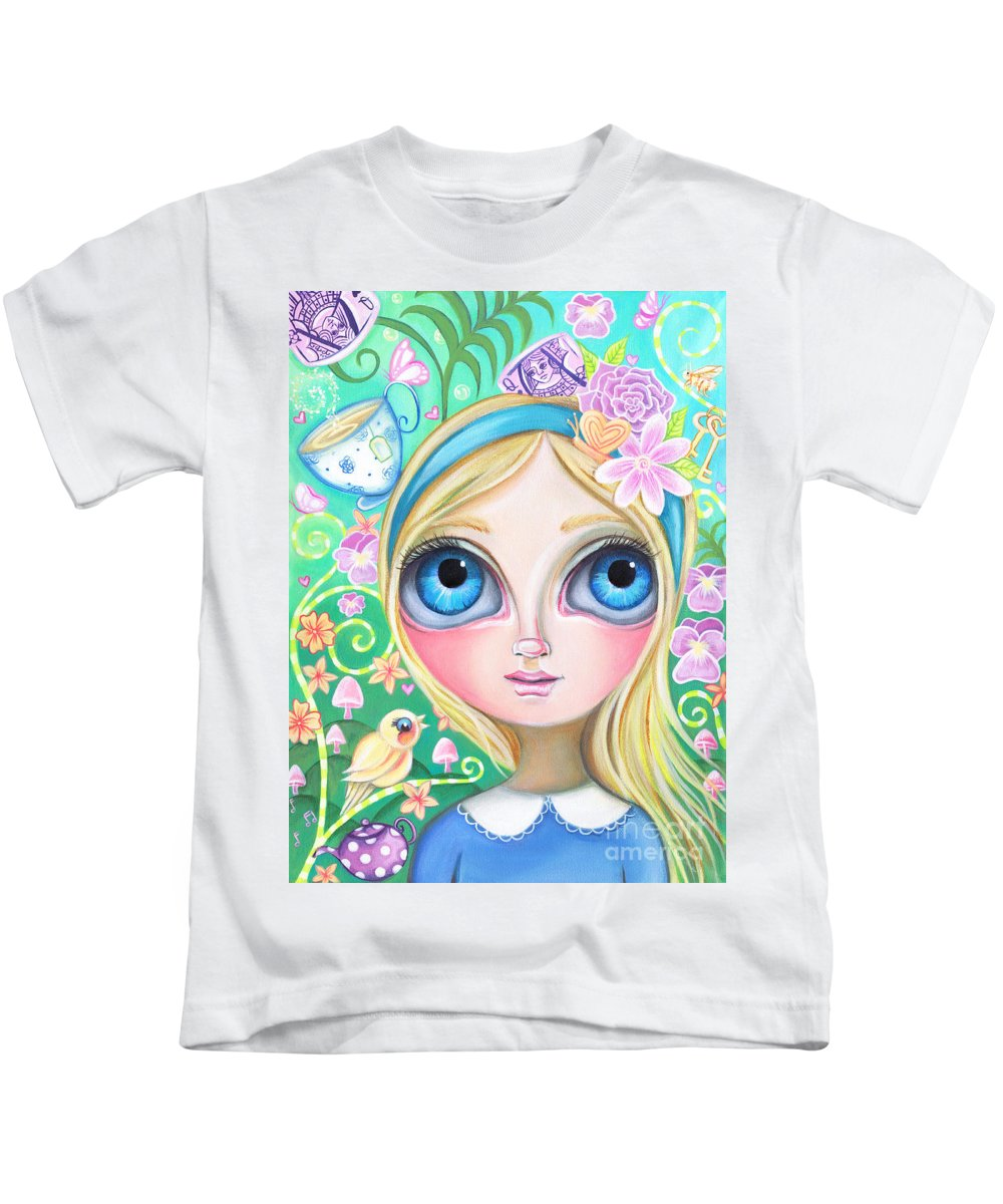 Alice Kids T-Shirt featuring the painting Alice In Pastel Land by Jaz Higgins