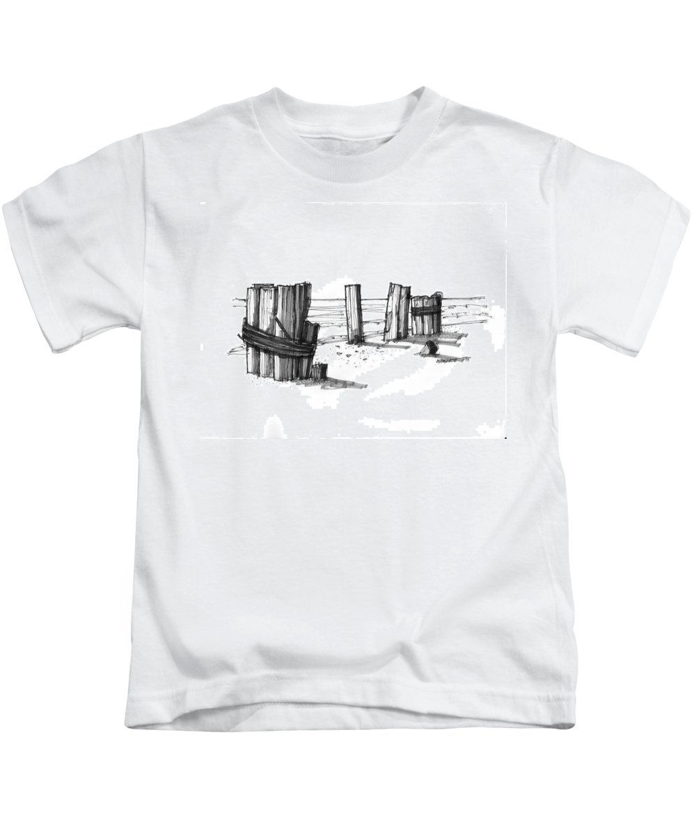 Outer Banks Kids T-Shirt featuring the drawing All That Remains Ocracoke 1970s by Richard Wambach
