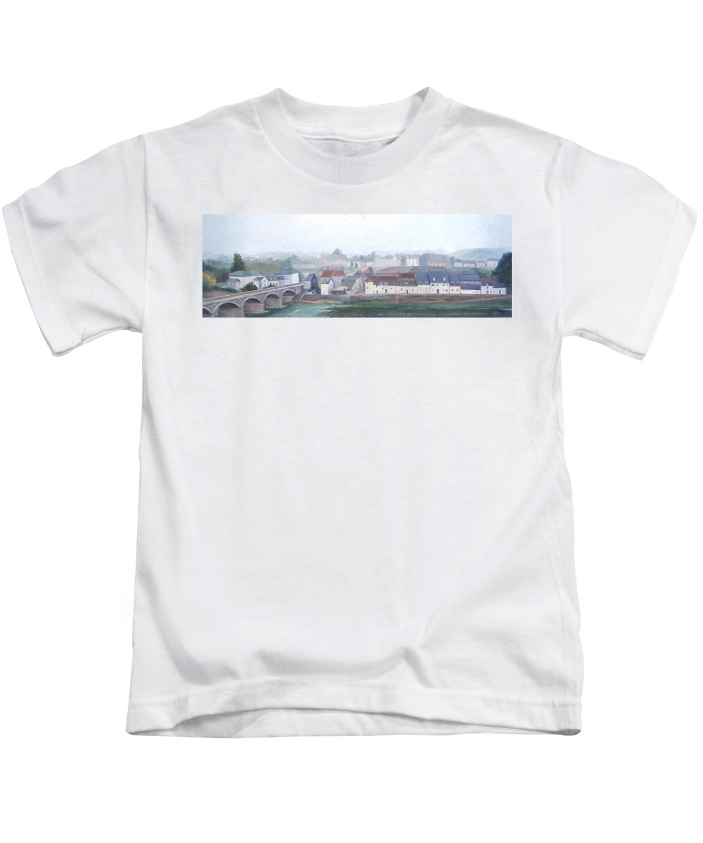 Amboise Kids T-Shirt featuring the painting Amboise And The Loire River France by Jan Matson