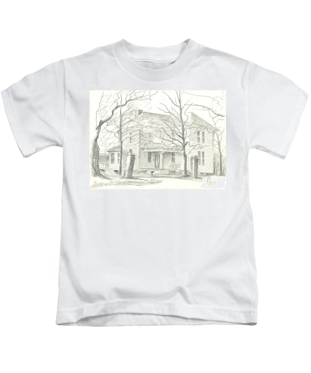 American Home Ii Kids T-Shirt featuring the drawing American Home II by Kip DeVore