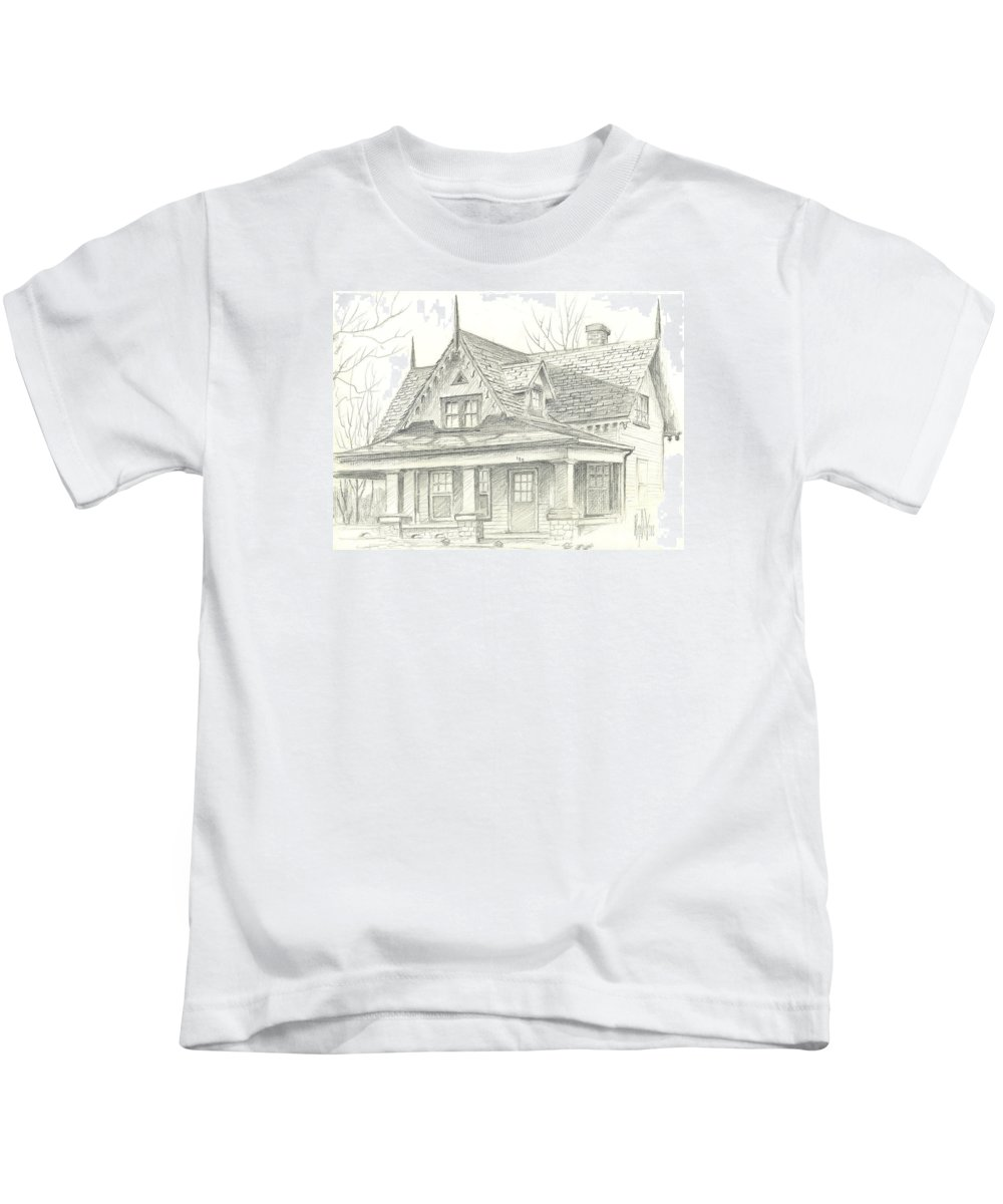 American Home Kids T-Shirt featuring the drawing American Home by Kip DeVore