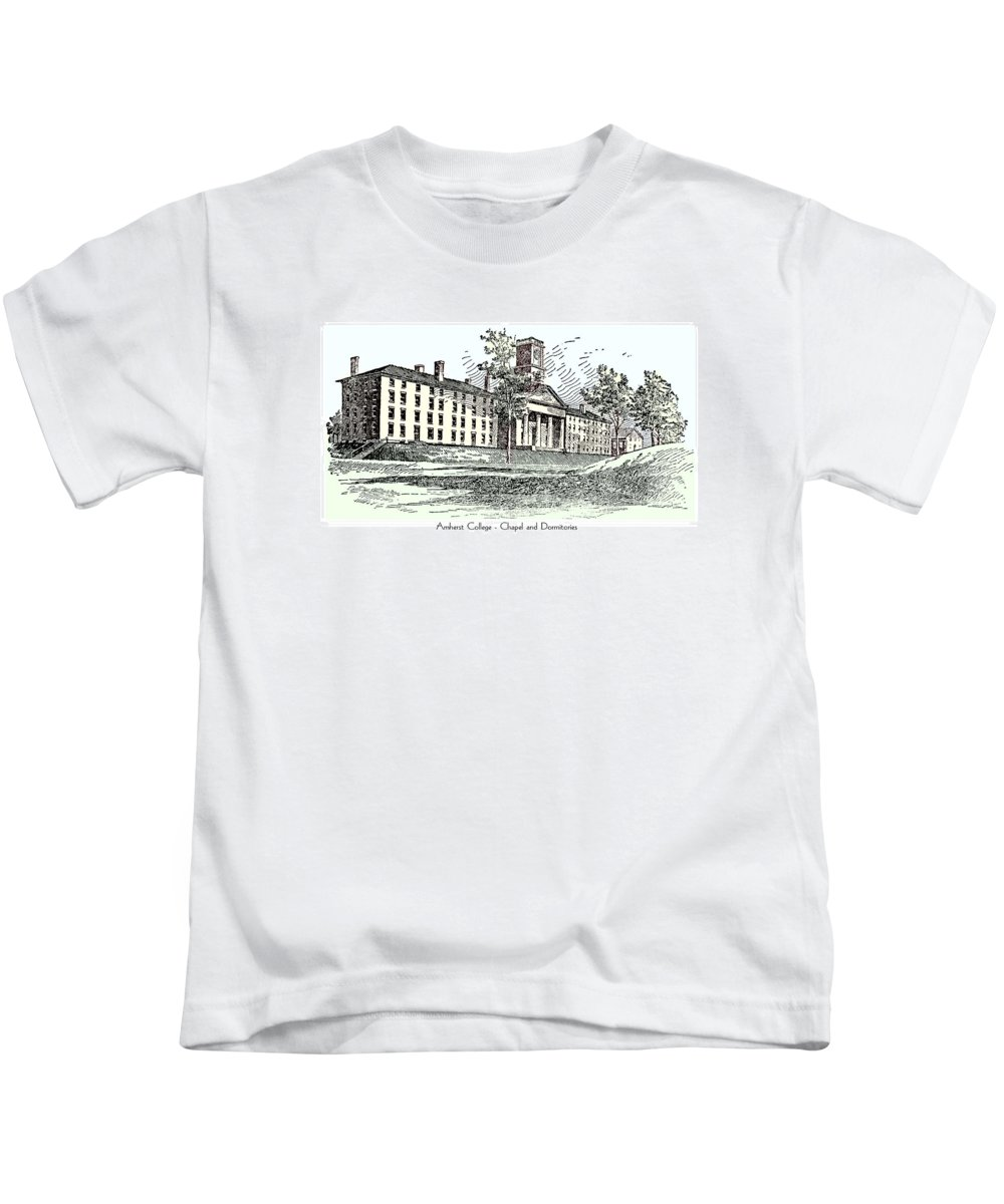 Amherst Kids T-Shirt featuring the digital art Amherst College - Chapel And Dormitories by John Madison