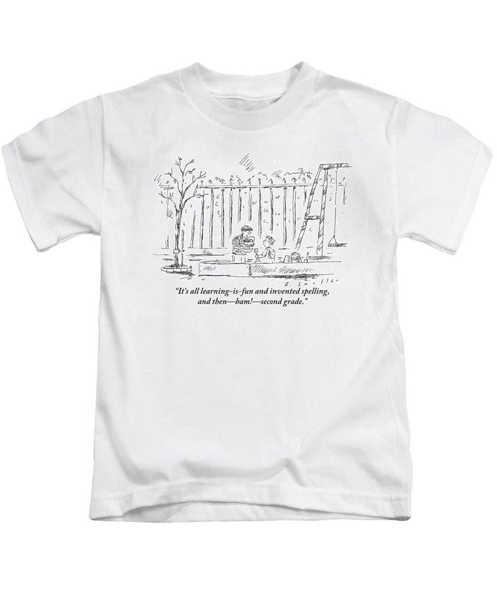 School Kids T-Shirt featuring the drawing An Older Child Speaks To Younger Child by Barbara Smaller