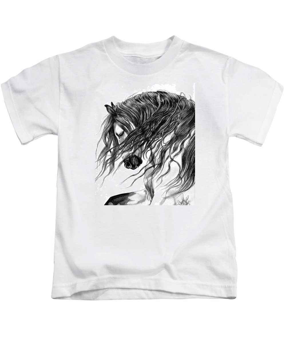 Horse Art Kids T-Shirt featuring the drawing Andalusian Arabian Head by Cheryl Poland