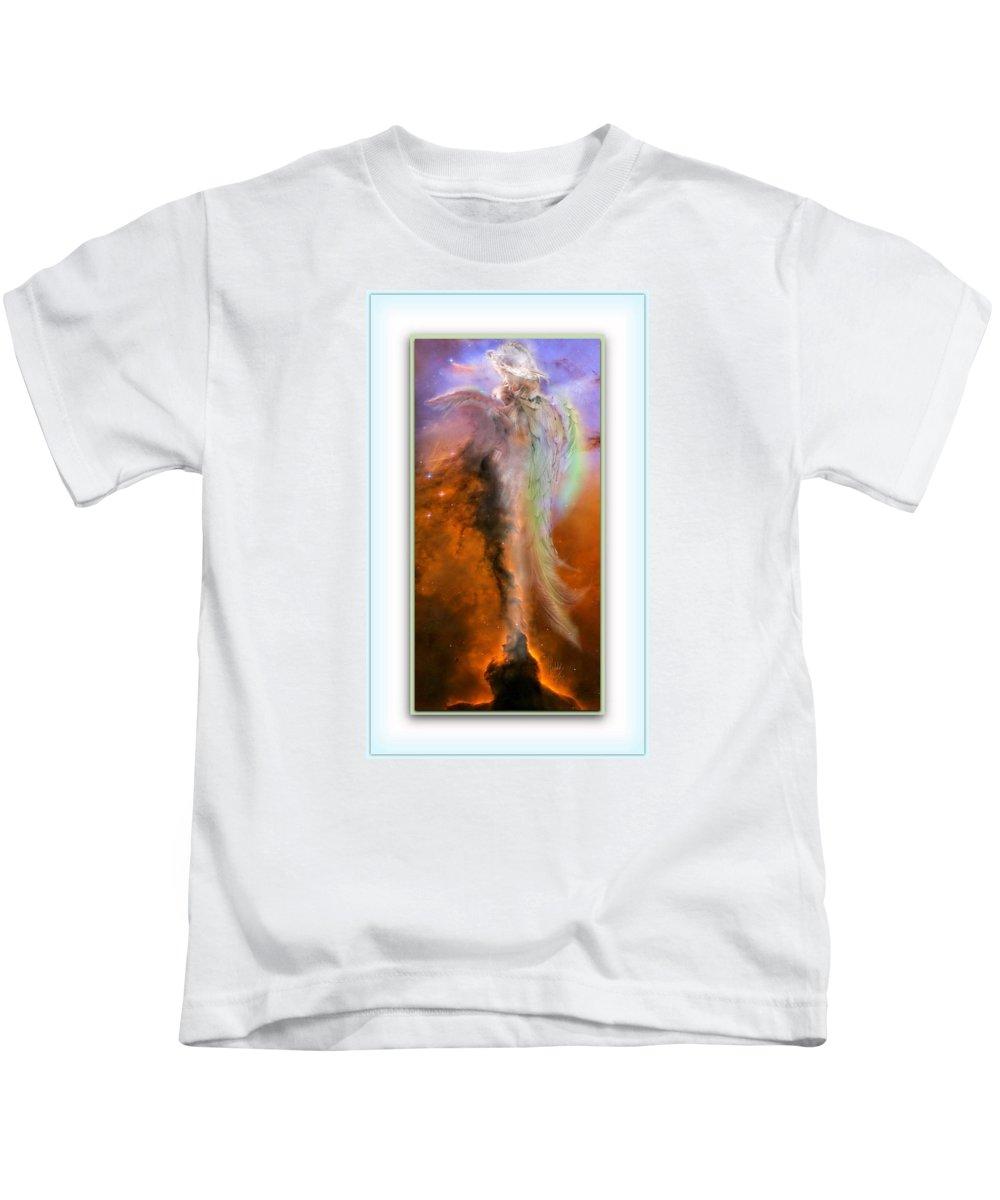 Nebula Kids T-Shirt featuring the mixed media Angels Reborn by Freddy Kirsheh