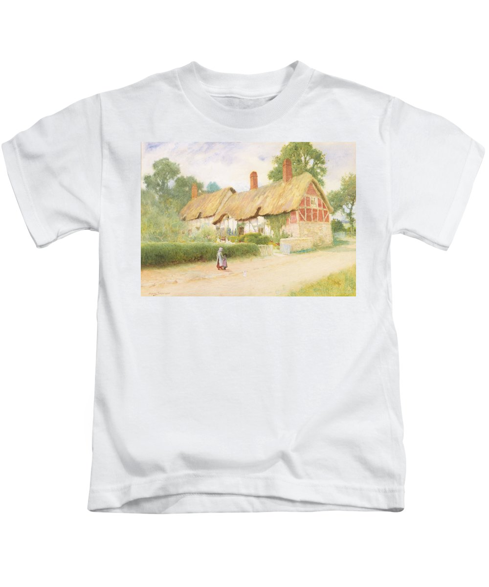 Tudor Kids T-Shirt featuring the painting Ann Hathaway's Cottage by Arthur Claude Strachan