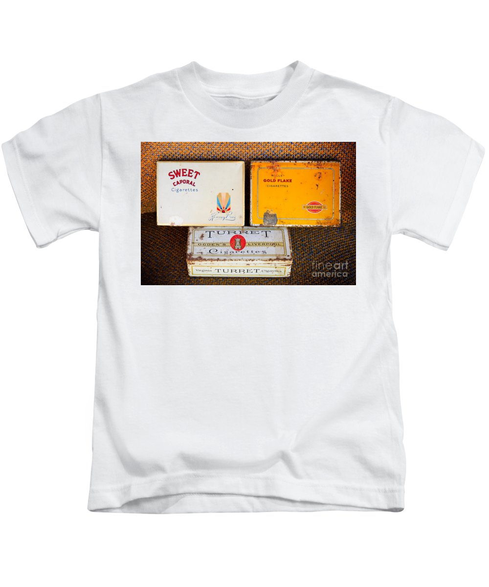 Old Kids T-Shirt featuring the photograph Antique Cigarette Boxes by Les Palenik