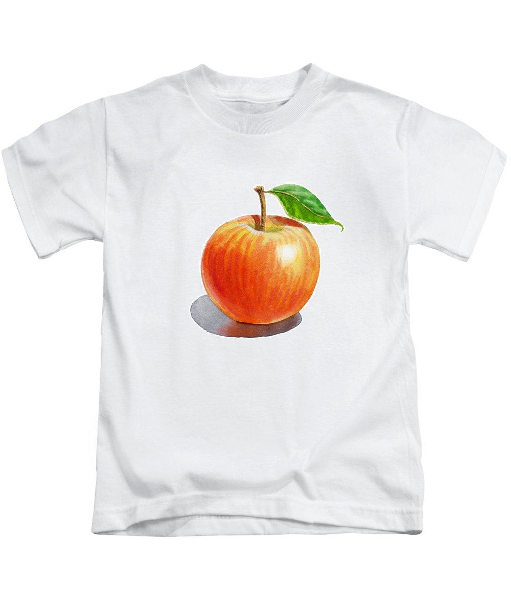 Apple Kids T-Shirt featuring the painting Red Apple by Irina Sztukowski