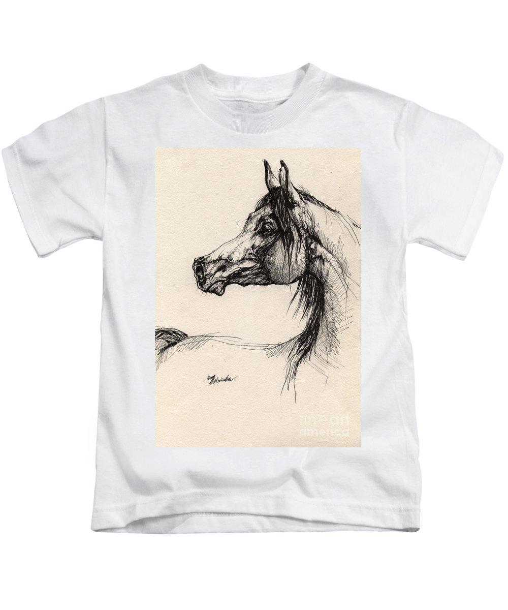 Horse Drawing Kids T-Shirt featuring the drawing Arabian Horse Drawing 26 by Angel Ciesniarska