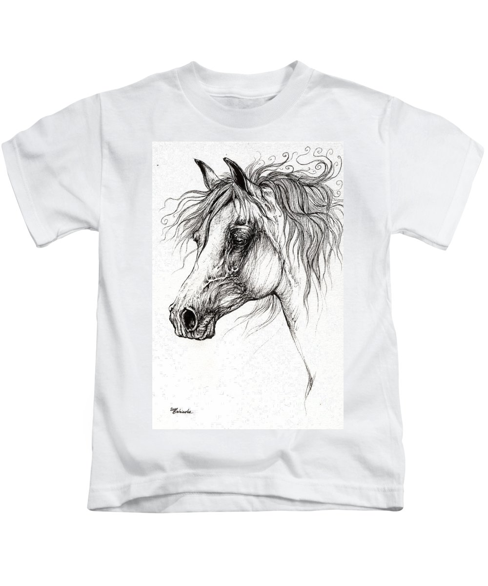 Horse Kids T-Shirt featuring the drawing Arabian Horse Drawing 54 by Angel Ciesniarska