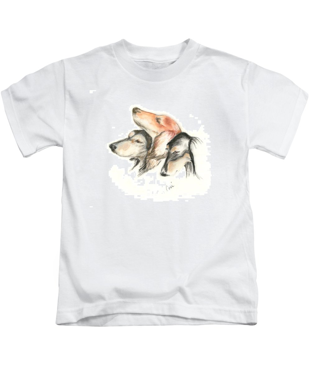 Dog Kids T-Shirt featuring the drawing Attitude by Cori Solomon