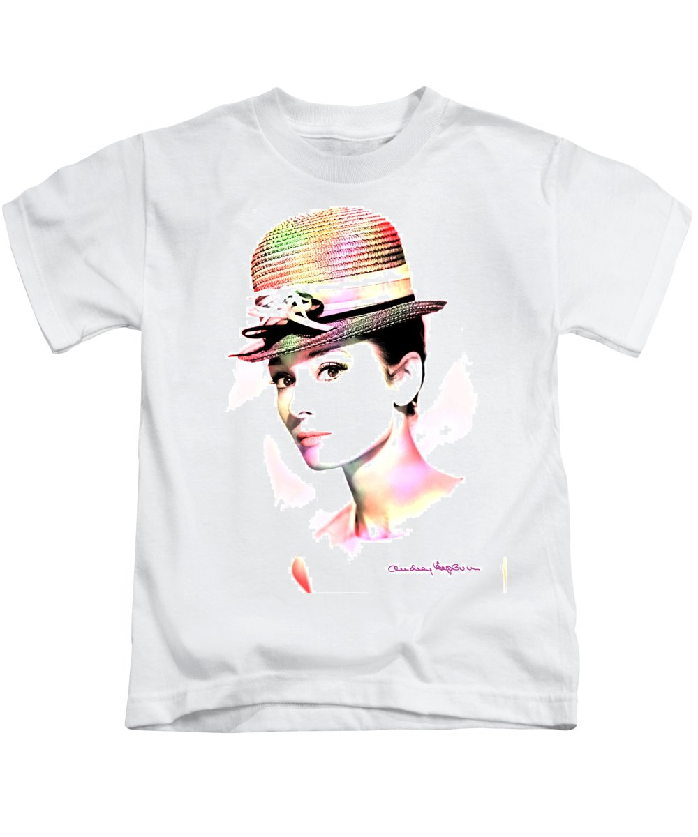 Hepburn Kids T-Shirt featuring the photograph Audrey Hepburn 6 by Andrew Fare