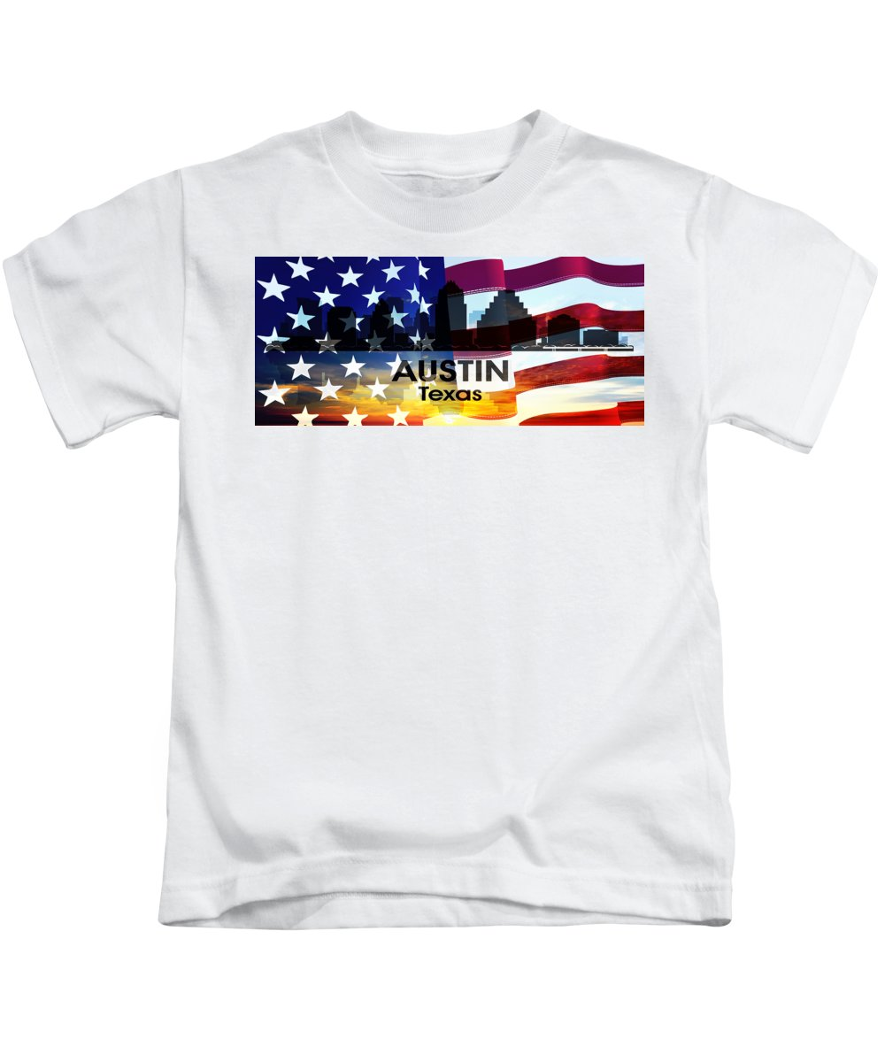 City Silhouette Kids T-Shirt featuring the digital art Austin Tx Patriotic Large Cityscape by Angelina Vick
