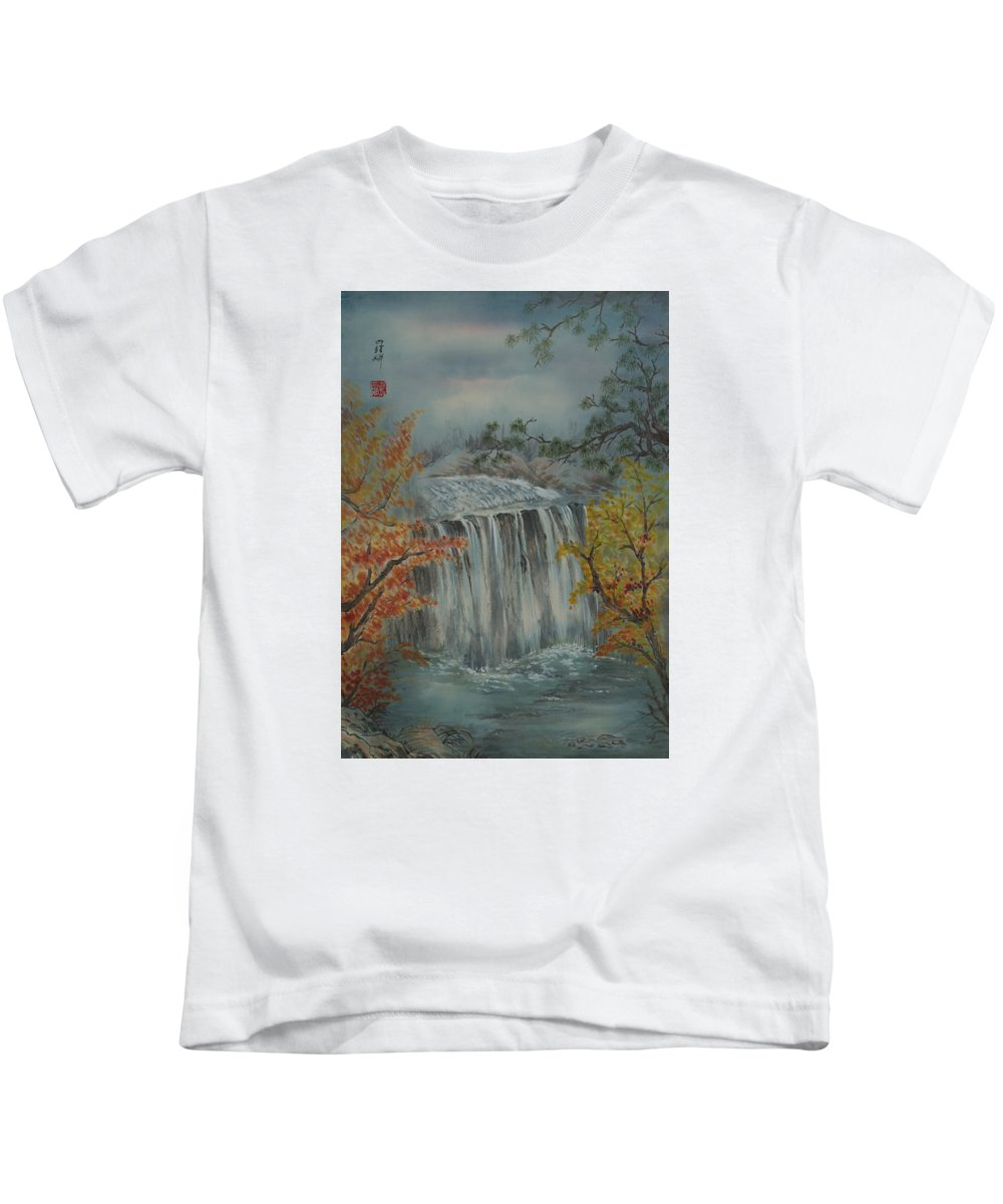 Water Stream Chinese Calligraphy Autumn Leaves Pine Tree Sky Rocks Kids T-Shirt featuring the painting Autumn Waterfall by Nona Lightman