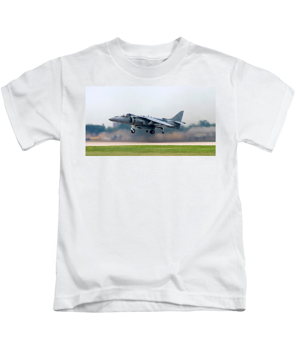 3scape Kids T-Shirt featuring the photograph Av-8b Harrier by Adam Romanowicz