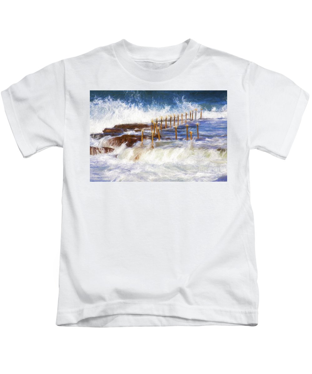 Avalon Kids T-Shirt featuring the photograph Avalon Rockpool With Crashing Waves by Sheila Smart Fine Art Photography