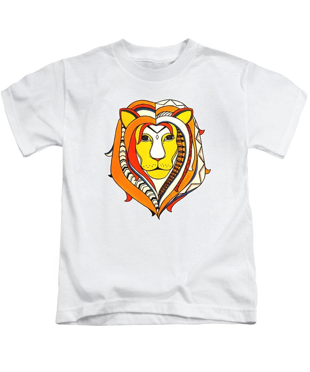 Lion Kids T-Shirt featuring the painting Golden Aztec Lion by Allison Liffman